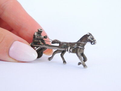 Vtg Horse-Drawn Cart Miniature Figurine Figure Collectible Sterling Silver 800