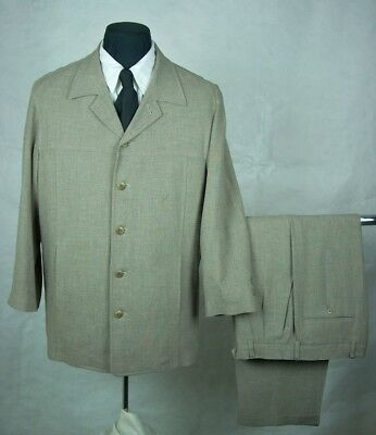 BACHRACH Made in Italy Mens Light Knit Weave RAYON & WOOL BLEND Suit size 40 R