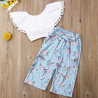 2PCS Toddler Kids Baby Girl Summer Clothes Floral Tops+Pants Overall Outfits AU