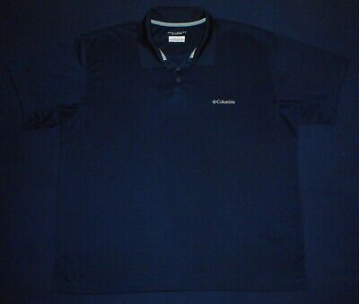 932269e6d97 Columbia Dri Fit Omni Shade Navy Blue Fishing Polo Shirt Mens Size 2XL EUC