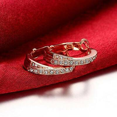 Fashion Plated Rose Gold Earrings Women Inlaid Zircon Hoop Earrings Jewelry