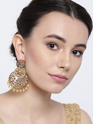 Fashion Earrings Antique Gold Plated LCT Stone Pearl Drop Traditional Jewelry