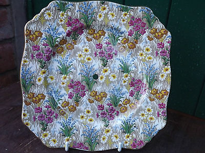 Vintage Royal Winton Marguerite pattern chintz large cake stand plate - 2 avail