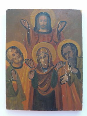 Antique Vintage Old Portrait Hand Oil Painting On Wood Christian Icon Jesus #4