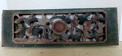 Antique Hand - Carved Decorative Wooden Panel Fragment Chinese Circa 1900