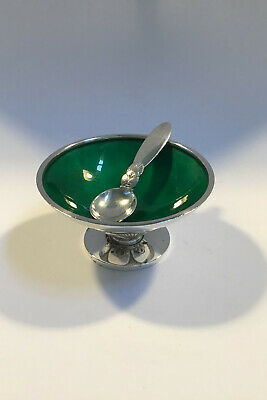 Georg Jensen Sterling Silver Cactus Salt Cellar(Green enamel) No 629 A and Spoon