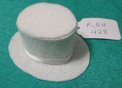 White Speckled Felt Top Hat w White Ribbed Ribbon Band  Ken Barbie Doll KNH428