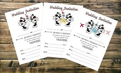 A5 Minnie & Minnie Wedding/Evening Invitations BLANK Gay Same Sex x20 w/Envelope