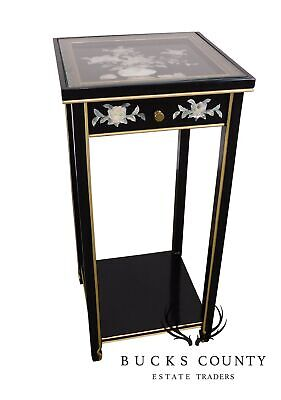 Oriental Black Lacquer and Mother of Pearl Square one Drawer Side Table