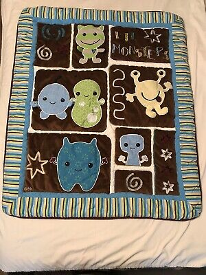 CoCaLo Little Monsters Baby Quilt Blanket Crib Nursery Plush Lil Peek-A-Boo