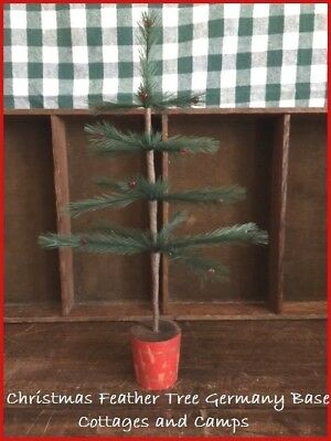 "Primitive Style 14 1/2"" Xmas faux Feather Tree in Antique Germany Red Wood Base"