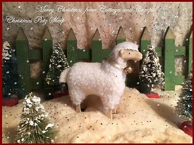 Primitive Style Christmas Nativity Village Wooly Putz Sheep with Stick Legs Bell