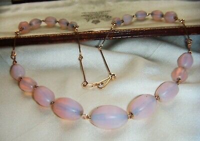 Rare Art Deco Pink Opalescent Poured Glass Rolled Gold Filled  Vintage Necklace