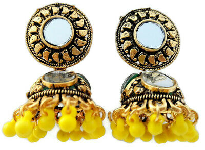 Indian Bollywood Oxidised Gold Tone Yellow Mirror Jhumki Jhumka Earrings Jewelry