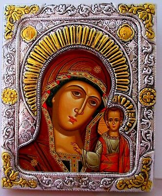 "SILVER-GILT OKLAD ORTHODOX ICON ""KAZAN MOTHER OF GOD"", ""Богоматерь Казанская"""