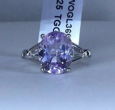 Size 8 Rose De France Amethyst Sterling Silver Ring TGW 4.64 cts