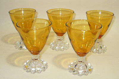 5 Vintage Boopie Amber Mid Century Glass Glasses Clear Beaded Cocktail 3 1/2 Oz