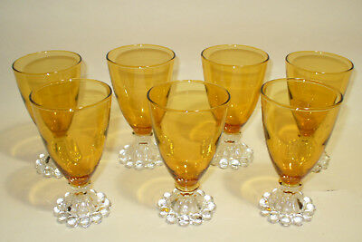 7 Vintage Boopie Amber Mid Century Glass Glasses Clear Beaded Cocktail 4 Oz