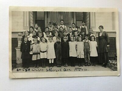 2nd & 3rd Grades Jefferson School Oregon OR RPPC Class Photo 1915-16