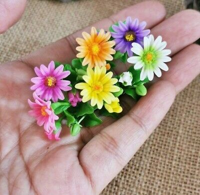 6 x Miniature Clay Colorful Gerbera Flowers Artificial Clay Dollhouse Scale 1:12