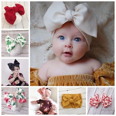 Oversized Big Waffle Tie Bow Baby Head Wrap Turban Headband Newborn Girl