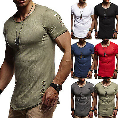 Men's O Neck Slim Fit T Shirt Tops Summer Ripped Short Sleeve Casual Muscle Tee