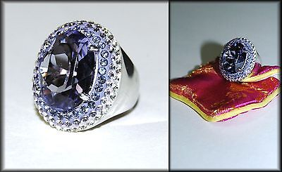 Purple Lavender Clear CZ Faux Amethyst in Sterling Silver Size 7 Ring