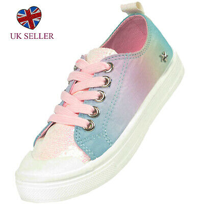 Girls Childrens KIds Blue Pink Rainbow Trainers Skate Shoes Pumps Casual Holiday