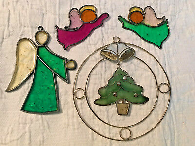 Set of 4 Stained Glass Christmas Sun Catchers - 3 Angels & Tree