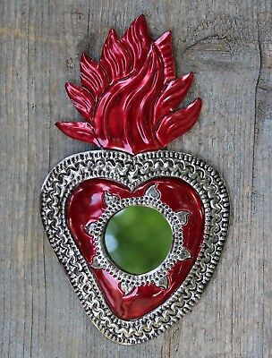 Small Sacred Heart Mirror, Mexican Tin Milagros - Stamped Tin & All Hand Made!