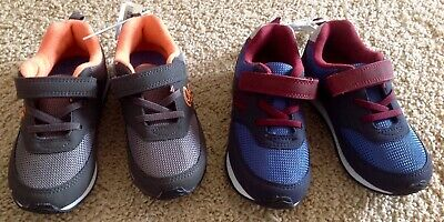 555faf847ab1 NWT OSHKOSH Boy Size 11 Blue-Red Wine Gray-Orange Tennis Shoes Sneakers NEW
