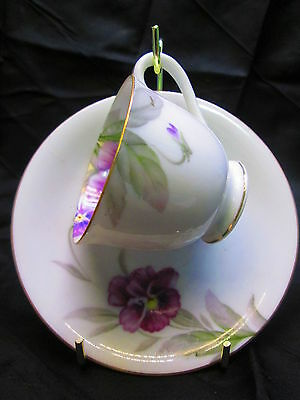 Demitasse Cup & Saucer - China - Purple Flower and Gray and Green Leaves