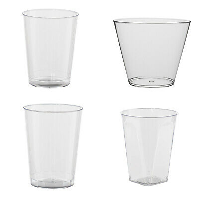 Clear Disposable Hard Plastic Cups- 4 Sizes - Rigid Tumbler Glasses Bar Catering