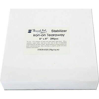"""IRON ON TEARAWAY EMBROIDERY MACHINE STABILIZER BACKING - 200 8""""x8"""" SHEETS"""