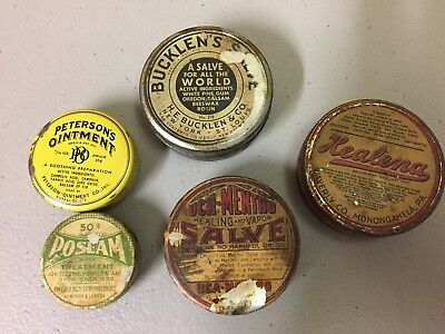 Lot of 5 Vintage Assorted Tins, Medicine  Advertising--Empty