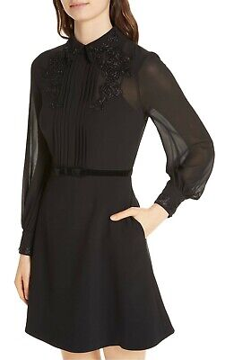 8d2b89c77 TED BAKER AMAALI Lace Appliqué Black Fit   Flare Dress 2 US 4-6 NWT ...