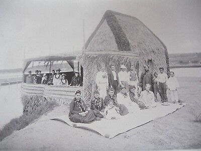 Vintage Hawaii 1898 A HAWAIIAN GRASS HOUSE original print from photograph