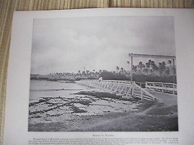 Vintage Hawaii 1898 BRIDGE AT WAIKIKI original print from photograph