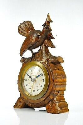 Superb Antique Carved Black Forest Alarm Clock - Black Forest approx. 1900
