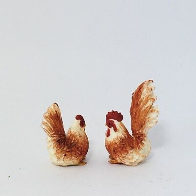 Clay Animal Figurine Miniature 2 Black Rooster Hen Cock CH002