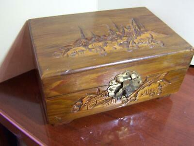 """Antique Asian Hand Carved Hinged Trinket Ring Box 6x4x 2 3/4"""" with mirror"""