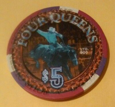 Four Queens Casino Las Vegas, Nv. Rodeo Logo $5.00 Chip Great For Collection!