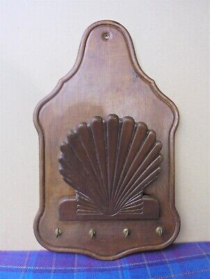 A Vintage Wooden Wall-Hung Letter Rack With Key Hooks
