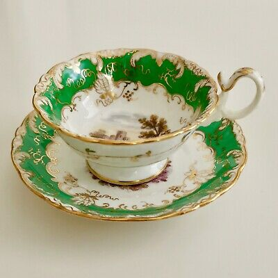 Coalport teacup, Adelaide shape, green with landscapes 2/919, ca 1840