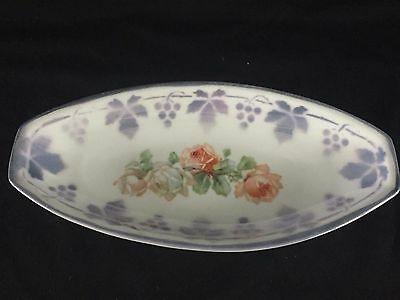 Vintage Made In Germany Purple Leaf Roses Lustreware Porcelain Celery Dish