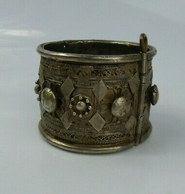 Antique Middle Eastern Cuff Bangle - Yemen Bedouin White metal / Silver Islamic