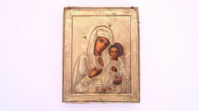 Antique Hand Oil Painting On Wood Brass Oklad Christian Icon Virgin Mary Jesus