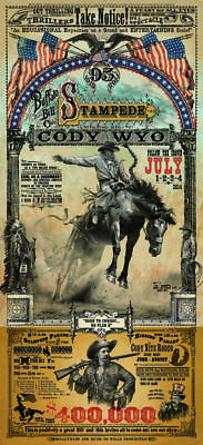 Cody Wyoming Buffalo Bill Stampede Rodeo Western Poster by Bob Coronato
