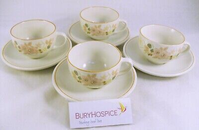 Boots 'Hedge Rose' Cups & Saucers x4 (WH_6702)