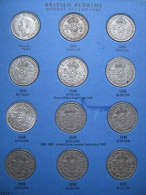 UK Florins 31 Coin with 7 Silver Collection Set 1941~1967 to Date Whitman folder